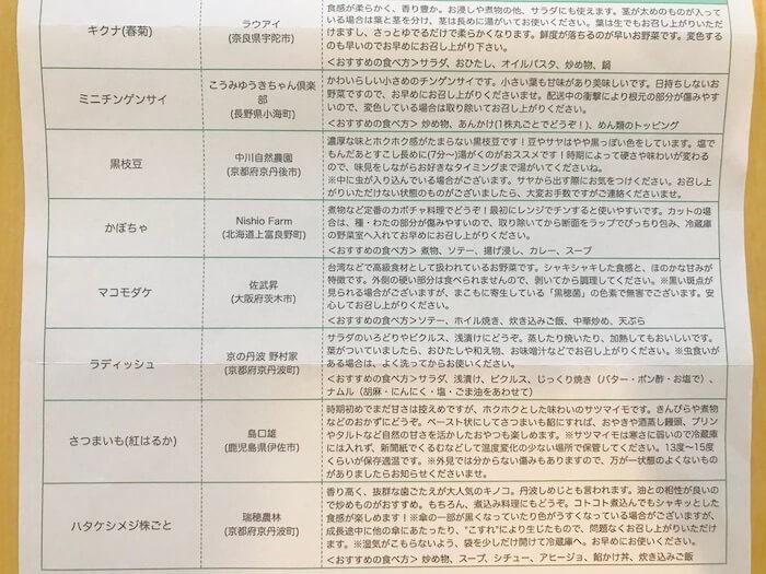 坂ノ途中 お野菜の説明書