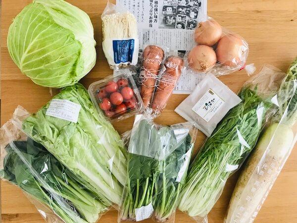 無農薬野菜のミレーの届いた野菜
