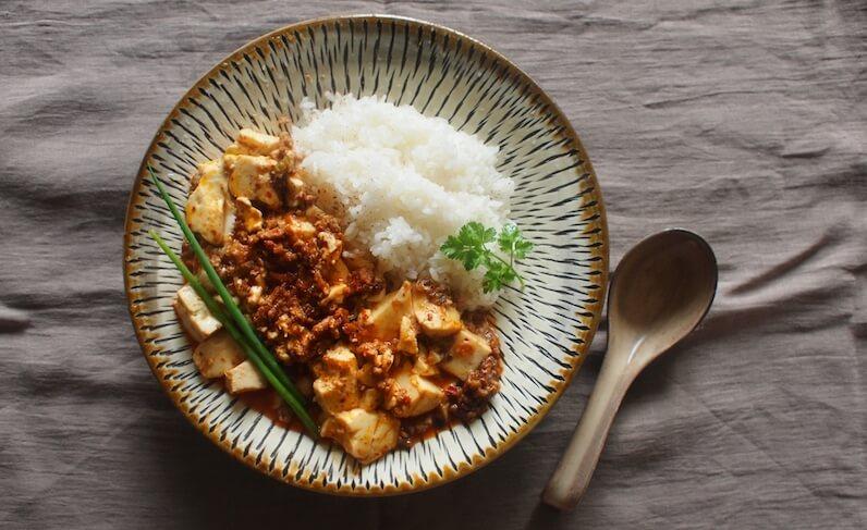 豆板醤を使った麻婆豆腐